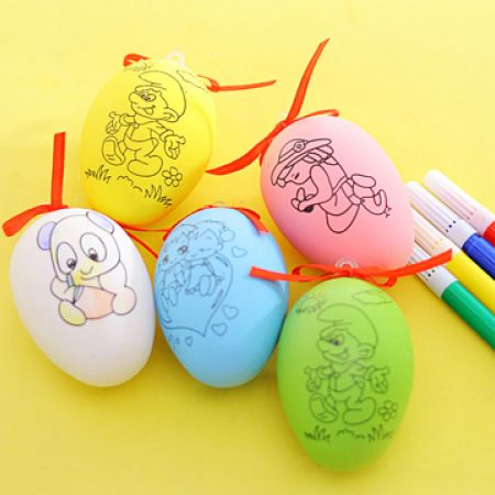 Coloring Easter Egg With 4 Coloring Pens