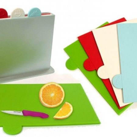 Set Of Multi Color Index Chopping Board With Storage Case 4 Pcs