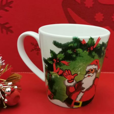 Scrafts Handmade Porcelain Christmas Mug Santa Clause with a Green Background