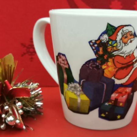 Scrafts Handmade Porcelain Christmas Mug Santa Clause Holding Gifts on His Back