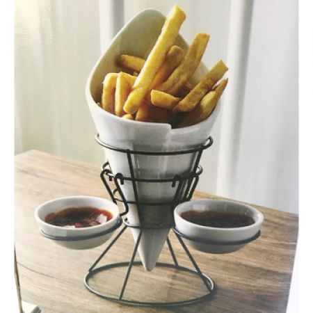 Wire French Fries Holder With 2-Condiment Stand