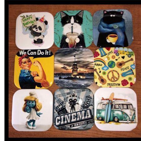 Standard Rectangular Pop-Art Coaster - Hippie, Peace and Love