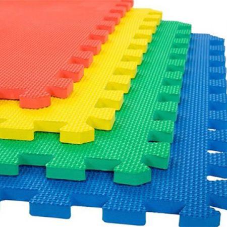 Set Of Multicolour Interlocking Eva Soft Puzzle Foam Mats 4 Pcs